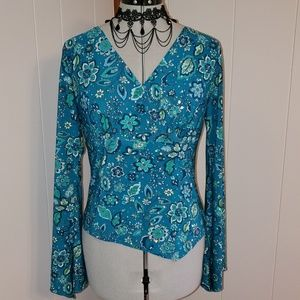No Boundaries Blue Floral Bell Sleeved Blouse